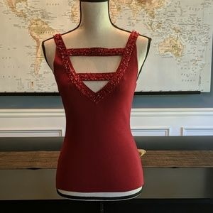 Cache red top with beads and sequins